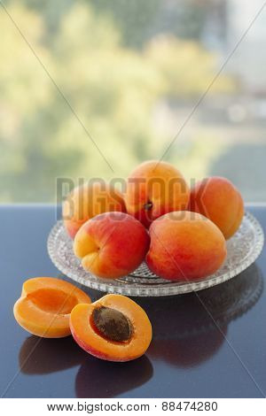 Fresh Apricots On A Plate