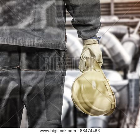 Double Exposure Of Worker With Protective Helmet