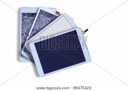 Broken And Repaired Tablet Screens