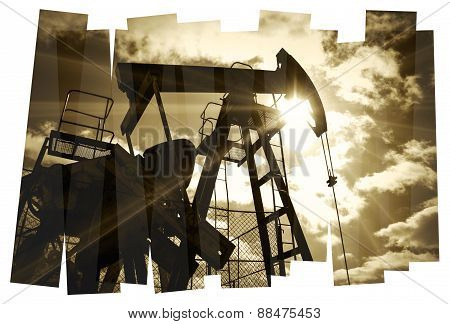 Oil rig abstract background.