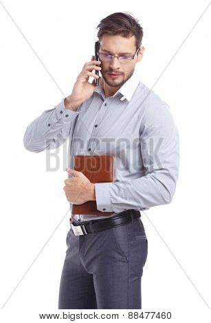 Young man talking on mobilephone.