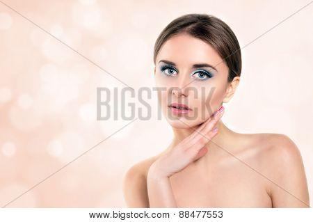 Beautiful Spa Woman Touching her Face. Perfect Fresh Skin closeup