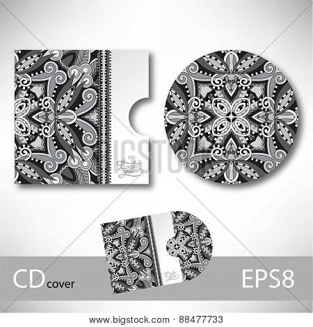 CD cover design template with grey ukrainian ethnic style orname