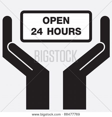 Hand showing open 24 hours sign icon.