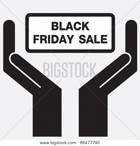 Hand showing black friday sale sign icon.