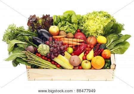 Box With Fruits And Vegetables