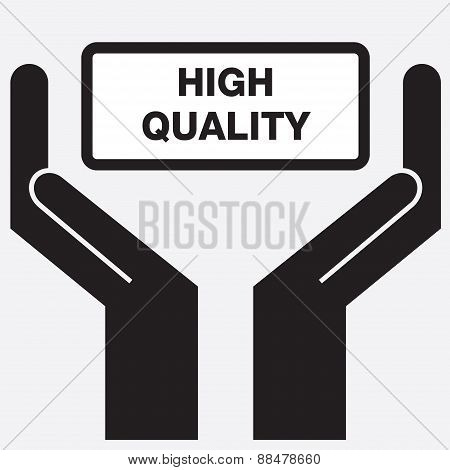 Hand showing high quality sign icon.