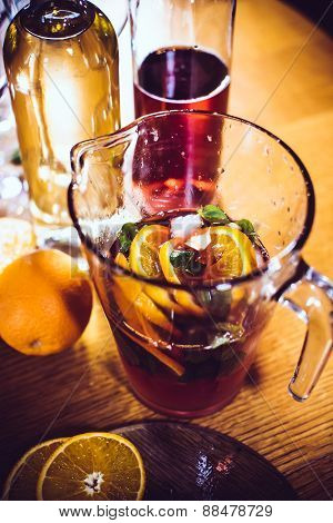 Large jar of sangria