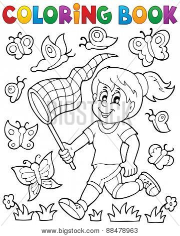 Coloring book girl chasing butterflies - eps10 vector illustration.