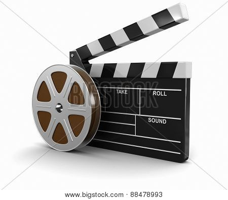 Film Reel and Clapboard (clipping path included)