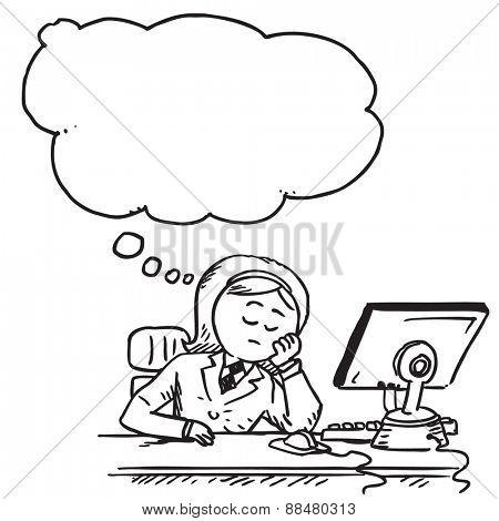 Businesswoman in office sleeping