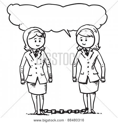 Businesswomen chained to each other speaking