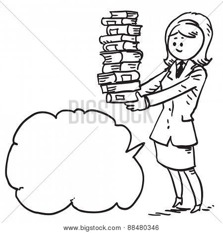 Businesswoman with pile of books speaking