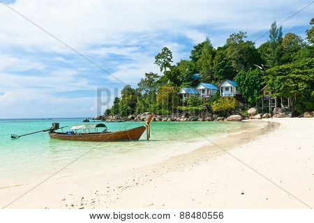 Traditional thai boat on the beach, Koh Lipe, Thailand