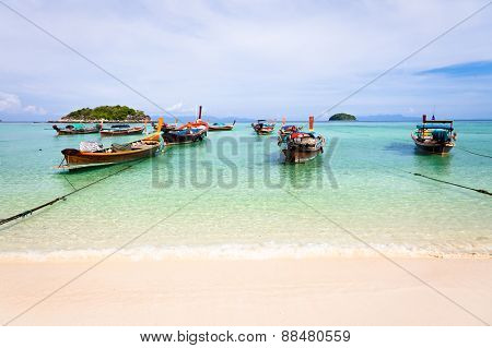 Traditional thai boats on the beach Koh Lipe Thailand
