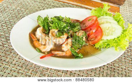 Spicy Fried Shrimp With Basil ,thai Food