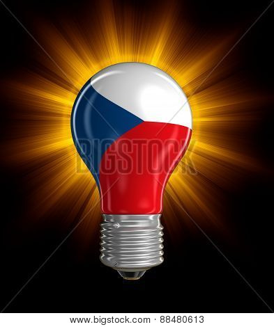 Light bulb with Czech flag (clipping path included)