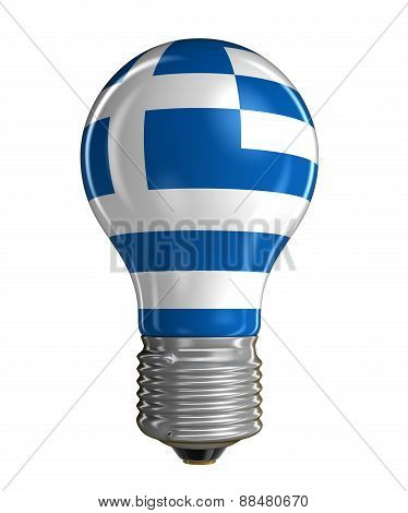 Light bulb with Greek flag (clipping path included)