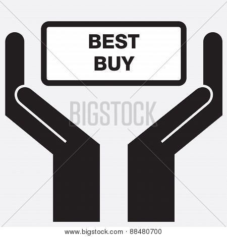 Hand showing best buy sign icon.