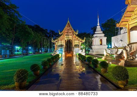 Wat Phra Singh Temple at night, Chiang Mai, Thailand