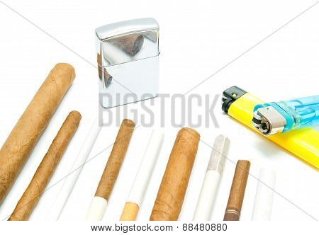 Many Cigars, Lighters And Cigarettes