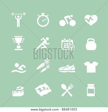 Health and Fitness white icons  vector set icons with a stopwatch bodybuilder weights dumbbells hear