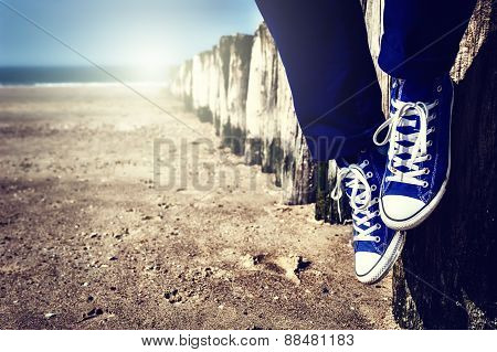 Seascape With Relaxing Teenager