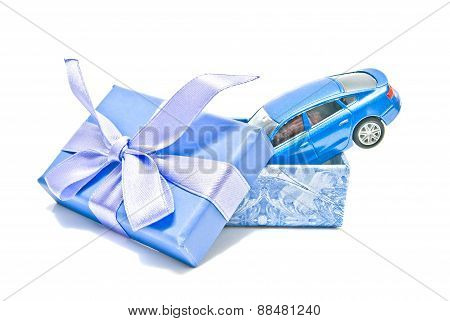Gift Box With Blue Car