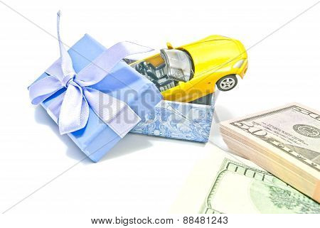 Blue Gift Box With Car And Money