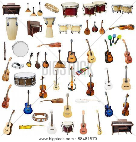 The image of music instruments isolated under the white background