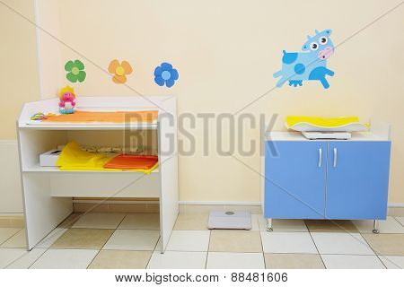 Changing table in the office of a pediatrician