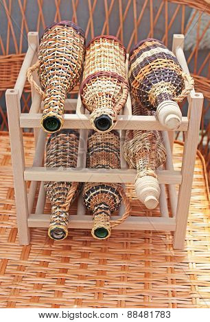 Wine Bottles With Wickerwork Cover