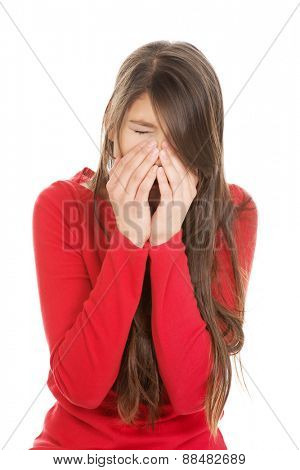 Young student woman suffering from sinus pain.