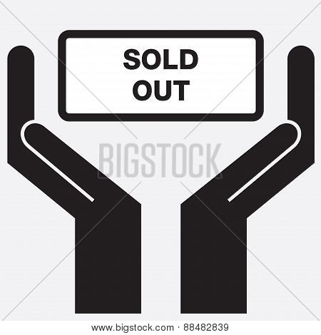 Hand showing sold out sign icon.