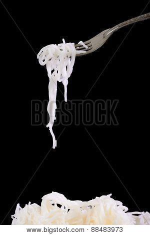 Rice Noodles On Black Background