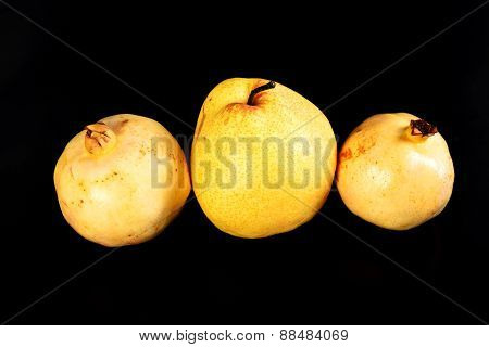 Fresh Group Oriental Pear And Pomegranate On Black Background