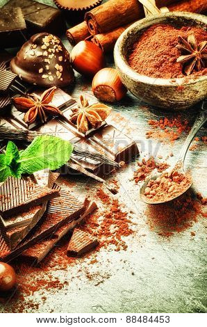Assortment Of Fine Chocolates And Cacao Powder