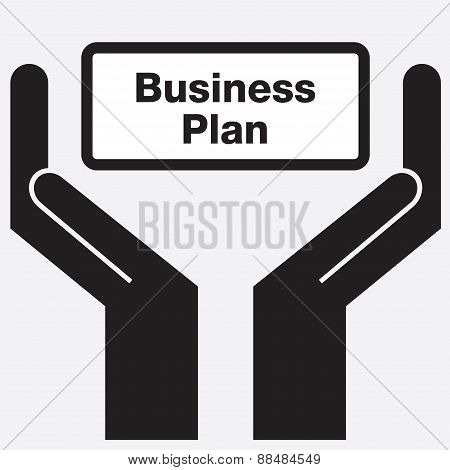 Hand showing business plan sign icon. Vector illustration.
