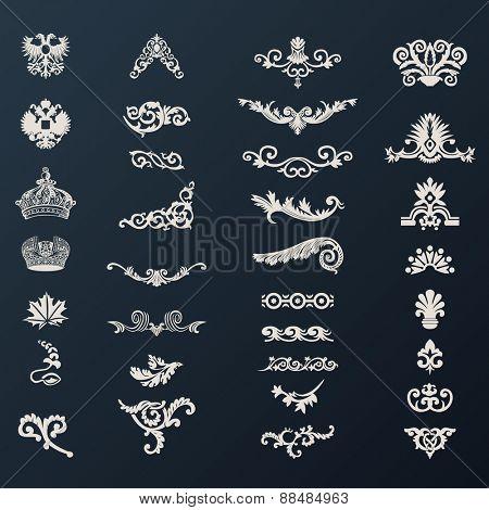 vintage royal design elements black illustration