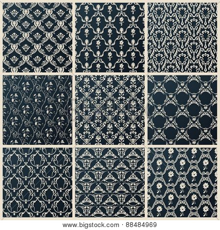 seamless vintage backgrounds. Abstract set black baroque wallpaper