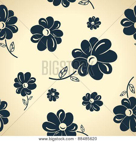 Seamless background wallpaper Vintage black flowers.