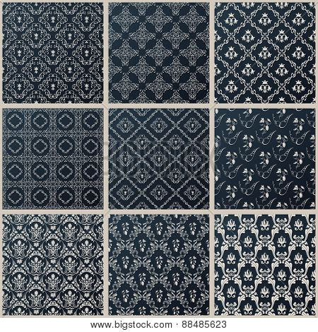seamless vintage backgrounds. Abstract set black baroque Pattern