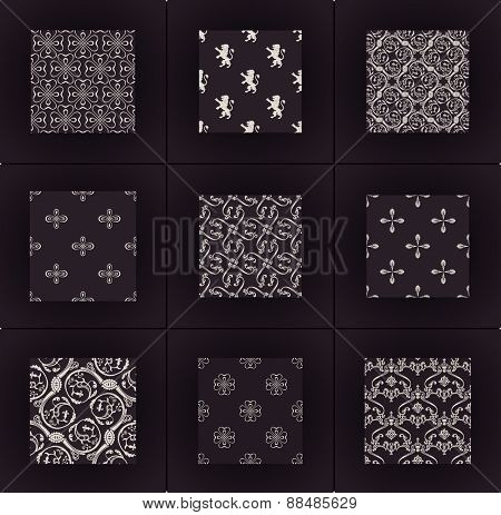 background wallpapers set. Seamless vintage Calligraphic ornament pattern