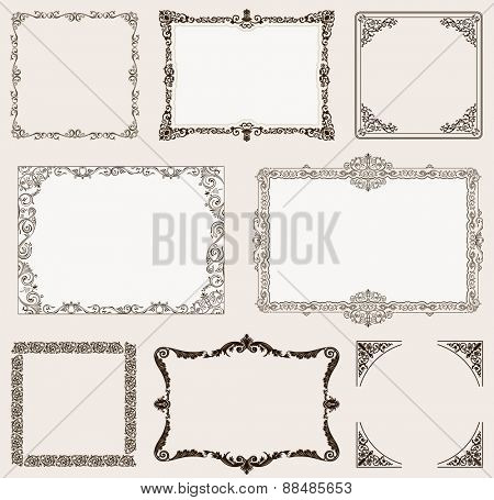 background set. Ornate frames and vintage scroll elements for design