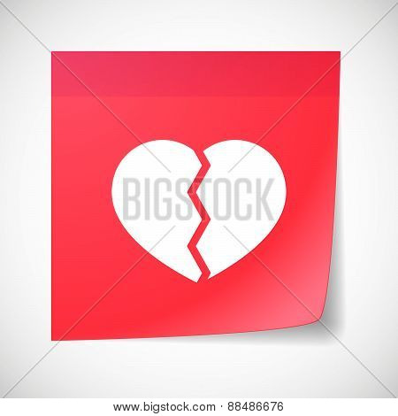 Sticky Note Icon With A Broken Heart