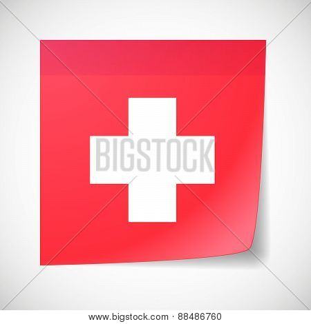 Sticky Note Icon With The Swiss Flag