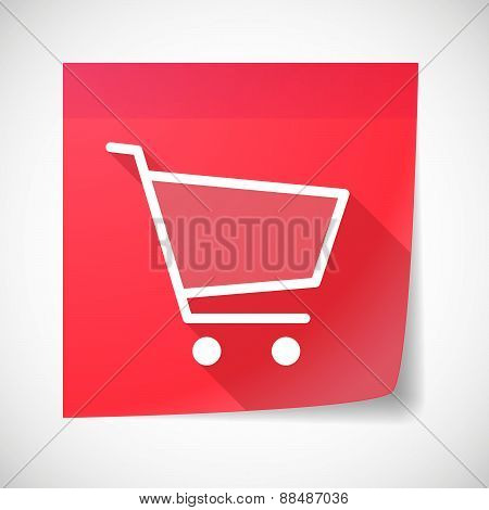 Sticky Note Icon With A Shopping Cart