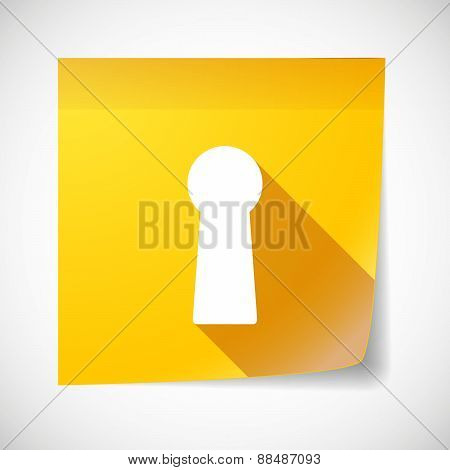 Sticky Note Icon With A Key Hole