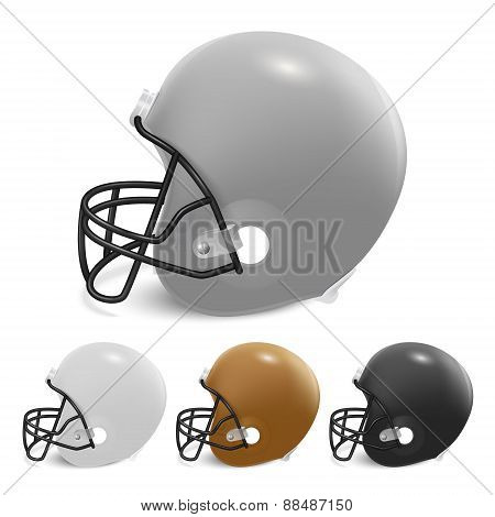 American Football Helmets Set. Isolated On White Background.