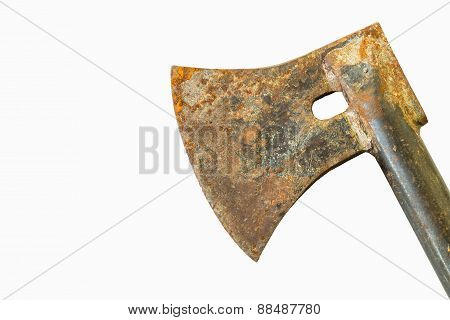 Old Rusty Axe Isolated On White Background